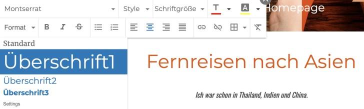 Screenshot: Überschriften-Menü Strato Homepage-Baukasten