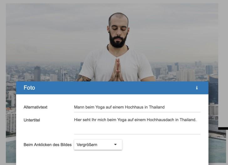 Screenshot: Alternativtexte, Untertitel und weitere Optionen für Bilder im Strato Homepage-Baukasten