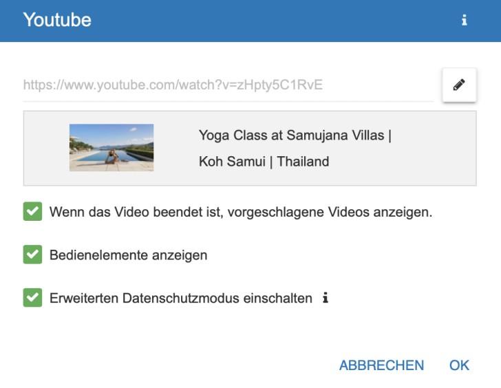 Screenshot: Integrieren von YouTube-Videos im Strato Homepage-Baukasten