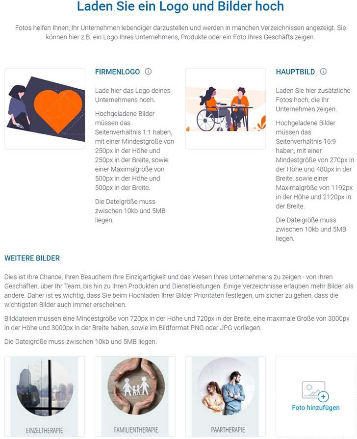 Screenshot zeigt das Menü für Logo, Hauptbild und weitere Fotos, die in den Online-Verzeichnissen angezeigt werden.