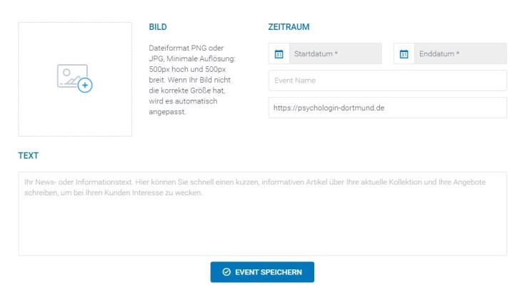 Screenshot vom Bereich Events des STRATO listingCoach