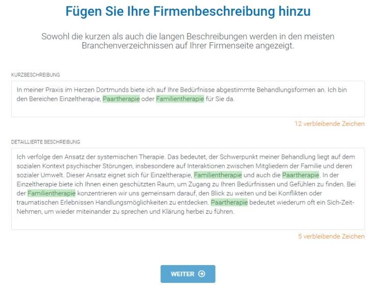 Screenshot zeigt Kurzbeschreibung und detaillierte Beschreibung der Beispiel-Praxis.