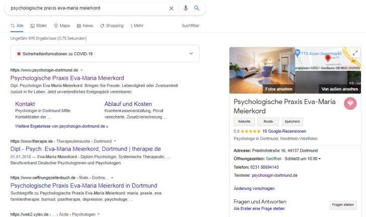 Screenshot zeigt die Google-Übersicht der Psychologischen Praxis Eva-Maria Meierkord.