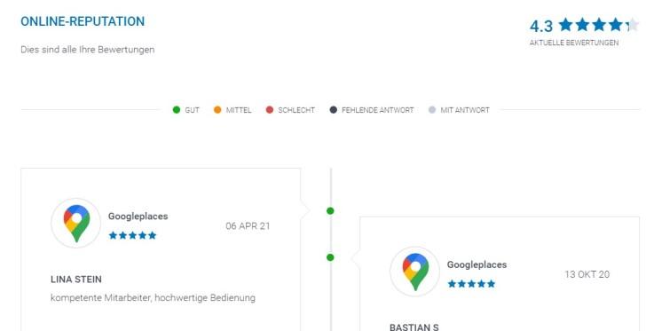 Screenshot zeigt fiktives Kunden-Feedback über unterschiedliche Plattformen, das im listingCoach gesammelt angezeigt wird.