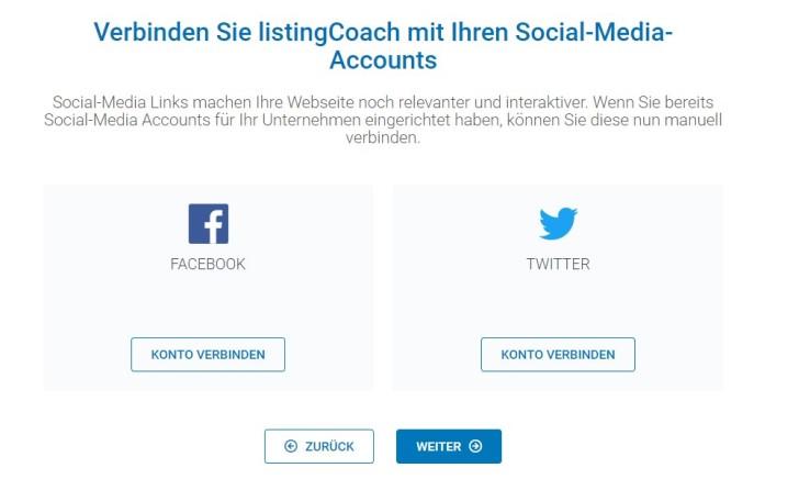 Screenshot zeigt die Möglichkeit, den listingCoach mit Facebook und Twitter zu verknüpfen.