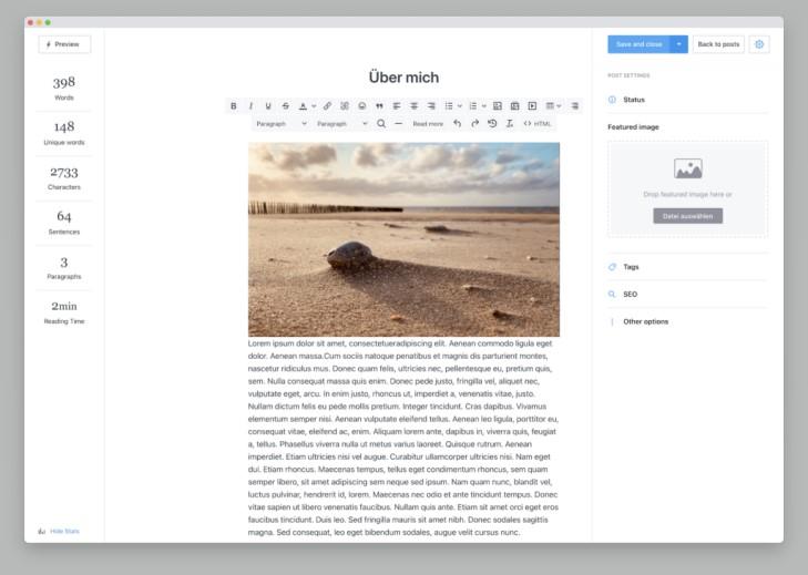 """Screenshot zeigt eine mit Publii angefertigte """"Über mich"""" Seite"""