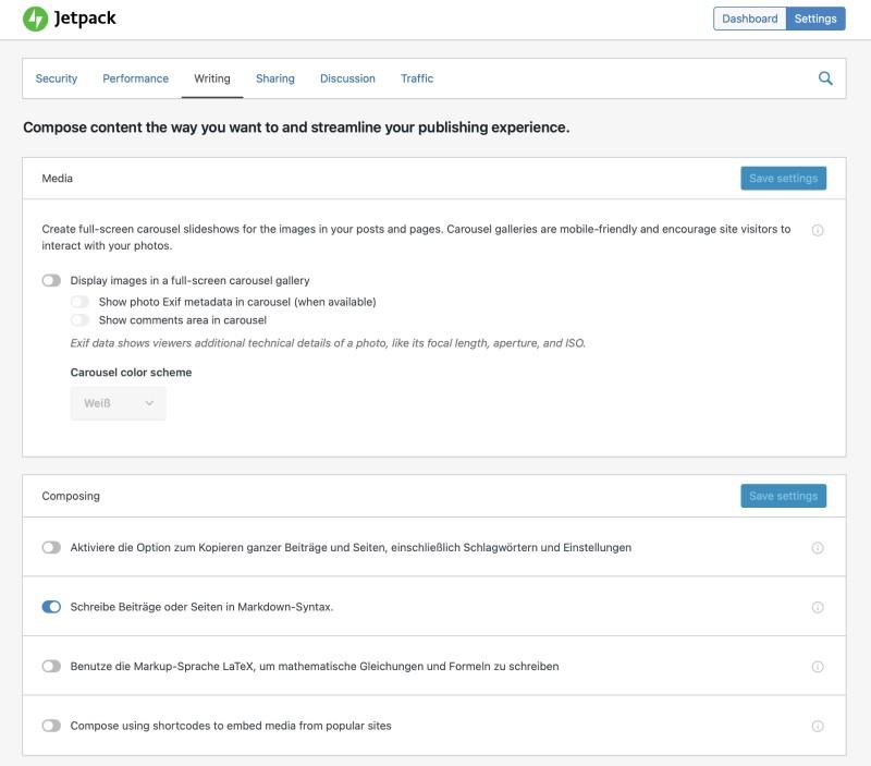 Screenshot vom WordPress-Plugin Jetpack, mit dem sich Markdown aktivieren lässt.