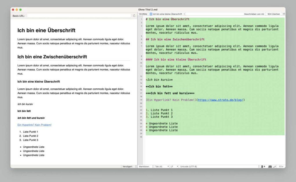 Screenshot von Markdown Befehlen im Texteditor SubEthaEdit