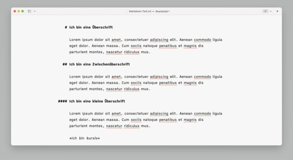 Screenshot vom Markdown Editor iAWriter