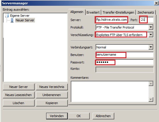 Wie nutze ich den STRATO HiDrive FTP/SFTP Zugang?
