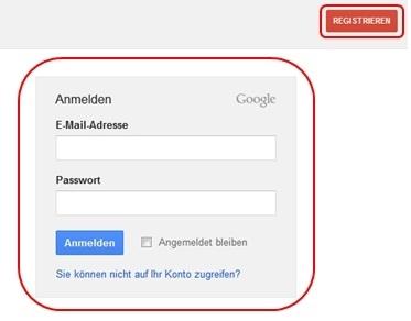 Google-Website nach unten