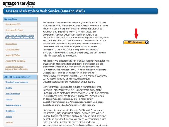 Amazon Market Web Service Aktivierungsguide