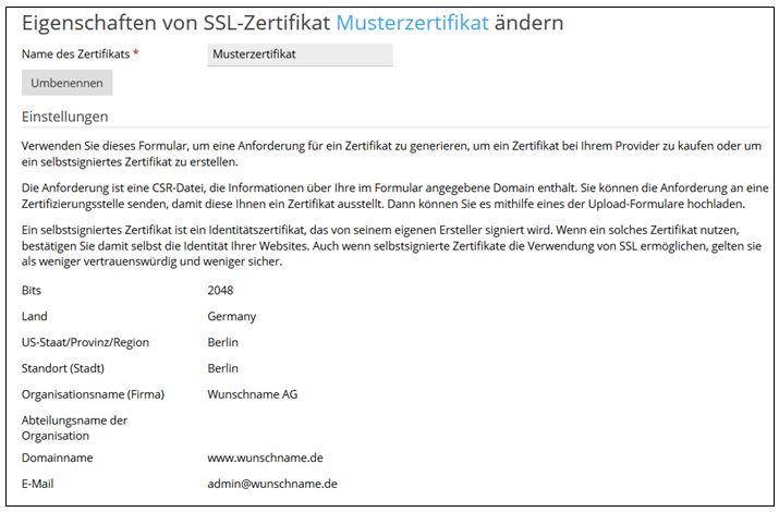 So verwalten Sie ein SSL-Zertifikat unter Plesk 12.5