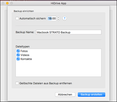 HiDrive device-backup for macOS