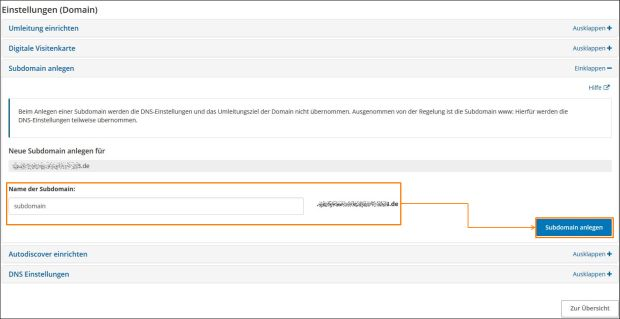 Eigene Domain kann ich mit den strato paketen eigene subdomains einrichten
